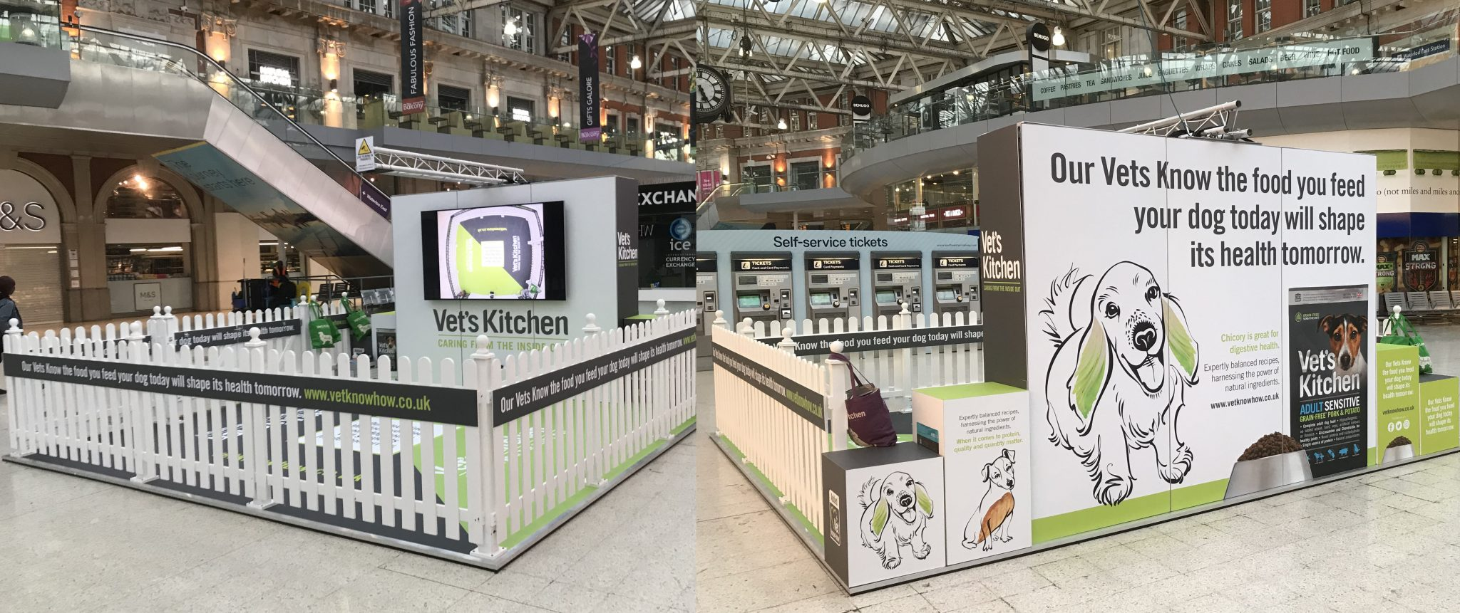 We assisted Vet's Kitchen with stand design, stand build, set-up, breakdown and the running of this promotional event at Waterloo Station, including staff management.